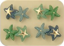 2 Hole Beads Starfish Bars Aqua Blue Green Enamel OCEAN BEACH SEA ~Sliders QTY 4