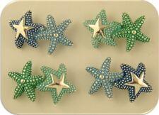 2 Hole Beads Starfish Bars Aqua Blue Green Enamel OCEAN BEACH SEA ~Sliders QTY 4