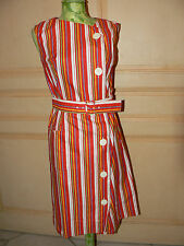 ROBE RAYURES ROUGE ANCIENNE VINTAGE NEUVE TISSUS TOILE MAGASIN ST TROPEZ