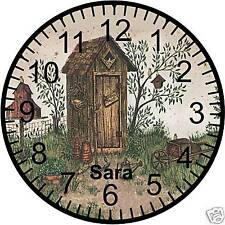 "9"" Personalized Country Outhouse Wall Clock"