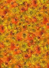"Fabric #1889, Orange Floral Jinny Beyer RJR Fabrics End of Bolt @ 2 Yards + 16"""
