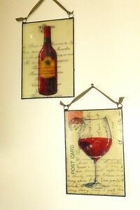 "Set Of 2 Reverse Print Glass Wine Themed Prints In Metal Border,8"" x 5 1/2"" Ea."