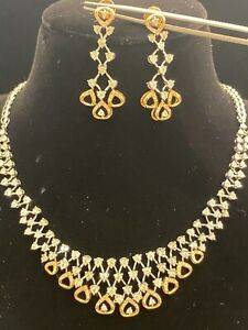 2.14 Cts Round Brilliant Cut Diamonds Necklace Earrings Set In 585 Fine 14K Gold