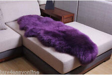180x65cm Double Pelt Sheepskin Rug Purple Real Australian 6' x 2' Fur Carpet