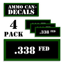 "338 FED Ammo Can 4x Labels Ammunition Case 3""x1.15"" stickers decals 4 pack"