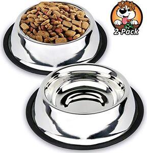 Estilo Non Slip Stainless Steel Dog Bowls, 32 Oz (Set of 2)