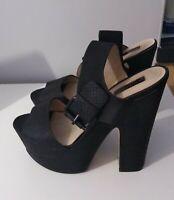 Topshop Leather  Platform Heel Sandal Shoes Size 6 Black Ladies Womens