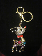 FASHION JEWELRY RHINESTONE CRYSTAL BEADS RUDOLPH THE RED NOSE DEER KEY CHAIN