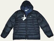 New XL 54 Lacoste Men puffer down ski trek hooded winter jacket coat Large black