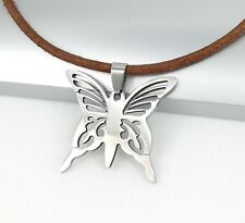 Silver Stainless Steel Butterfly Charm Pendant Brown Leather Choker Necklace
