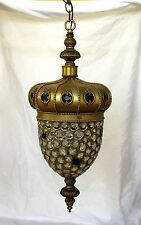 Vintage Art Deco Crown Crystal Jeweled Shade Lantern Chandelier Lamp Fixture