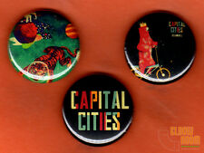 "Set of three 1"" Capital Cities pins buttons pop rock band safe and sound"
