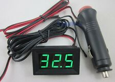 Auto Green Digital Thermometer -50~110C Temperature+Sensor+Cigarette plug car