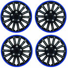 SET OF 4 x 14 INCH BLUE AND BLACK SPORTS WHEEL TRIMS COVER HUB CAPS 14