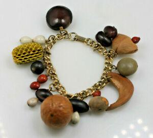 "Vintage boho hippy nature seed bead nut pod gold tone charm dangle bracelet 7"""
