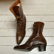 Vtg 1900 20s Selz Chicago Edwardian Womens Leather Boots Shoes Nos Nwot Us 8 8.5