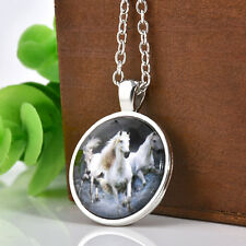 Retro Vintage Horse Cabochon Glass Pendant Silver Plated Chain Necklace Jewelry