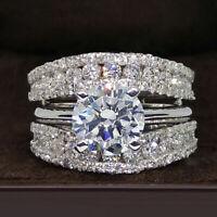14K White Gold Fn Solitaire Enhancer 3.00Ct Diamond Ring Guard Wrap Wedding Band