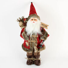 Widdop Standing Santa with Red Overcoat Welcome Sign Christmas Decoration 18""