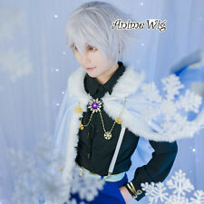 Dream 100 Prince Glaceon Short Silver White Hair Men Halloween Anime Cosplay Wig
