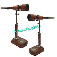 Nautical Telescope Vintage Style Collectible Telescope With Compass Wooden stand