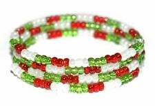 HANDMADE RED GREEN WHITE CHRISTMAS BEADED COIL WRAP BRACELET (B018)