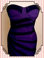 💜LIPSY Purple Black Boned Fitted Dress Stretch NEW+TAGS UK 8 EU 36✨£65 ✨FAST📮