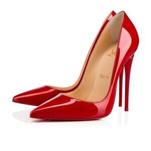 Christian Louboutin So Kate 120 Loubi Red Patent Leather Stiletto Heel Pump 40.5