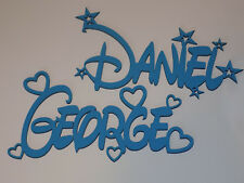 Personalised DISNEY style name plaque sign - BLUE with hearts or stars wall/door
