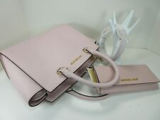 Michael Kors Selma Medium Top Zip Satchel Shoulder Leather Bag Pink Blossom