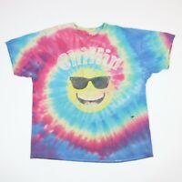 Faded Distressed Tie Dye T-Shirt 2XL Chillin' Smiley Face Grunge Hippie Swirl