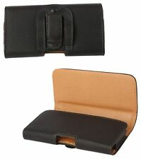 HTC Desire 300 Universal Side-Carry Leather Pouch in Black with Belt Clip/Loop.