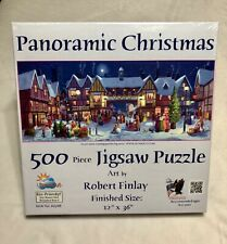 """SunsOut 500 Piece Panoramic Christmas puzzle. 12"""" x 36"""" Fun or a great gift."""