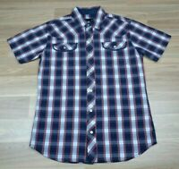 ST GOLIATH Mens Navy & Red Check Plaid Short Sleeve Dress Casual Shirt - Size S