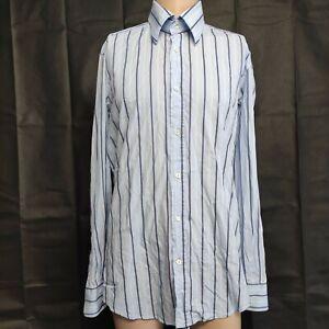 Dolce And Gabbana Men's Blue Striped Button Up Shirt Size 16.5/42