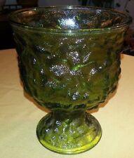 "Vintage E.O. BRODY CO Green Glass 6.5"" Textured Crinkle Vase or Fruit Bowl"
