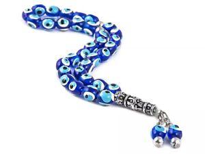 EVIL EYE BLUE WHITE & SILVER HANDMADE KOMBOLOI PRAYER 33 BEADS KABALLAH + GIFT