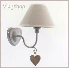 APPLIQUE LAMPADA a parete Shabby GRIGIO PARALUME TESSUTO ECRU CAMERA cuore legno