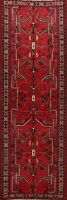 Vintage Geometric Hamedan Hand-knotted Runner Rug Oriental Tribal Carpet 4x10 ft