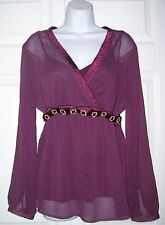 Women's Maternity Large Top Attached Camisole Burgundy with Gem encrusted Belt