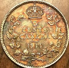1911 CANADA SILVER 5 CENTS COIN - Fantastic toned example! Really nice!