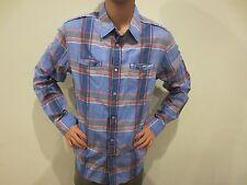 GUESS Button Down Shirt BLUE PLAID-Size L 100% Cotton