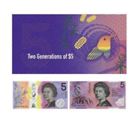 Official RBA Folder $5 Two Generation Banknote AA First Prefix
