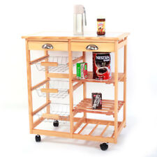 Rolling Wood Kitchen Trolley Cart Dining Wine Storage Drawers Stand Durable