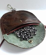 Real Leather FT / field target pellet pouch with neck lanyard and  lobster clap.