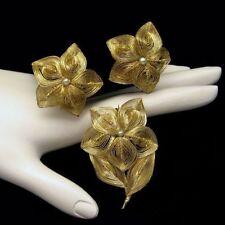 GERMANY Vintage Brooch Pin Earrings Set Gold Plate Spun Wire Faux Pearls Flowers