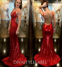 Red Sequin Backless Formal Mermaid Prom Gown Ball Cocktail Party Evening Dress