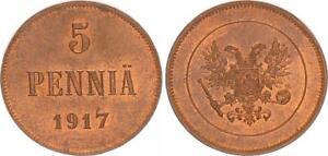 Finlande/Russie 5 Penniä Cuivre 1917 Prfr PC 63074