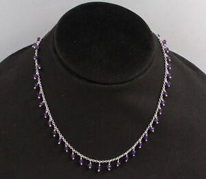 "Amethyst Beads Handmade 13.5+3"" Choker Necklace 925 Sterling Silver Jewelry"