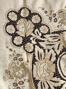 Vintage Madeira Hand embroidery & cutwork tablecloth needle lace background Rose